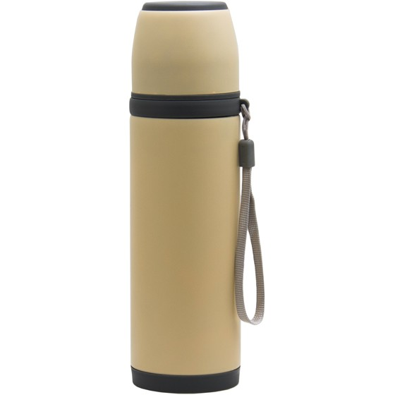 REGENT 500ML SOFT-TOUCH DOUBLE WALLED STAINLESS STEEL VACUUM FLASK, BEIGE